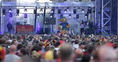 UHD 4K Crowd People Cheering Germany Team World Cup 2014 Public Viewing Berlin Stock Footage