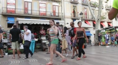 The Ramblas .  One of the most famous and popular tourist streets of Barcelona. Stock Footage