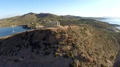 Temple of Poseidon aerial footage forward movement Stock Footage