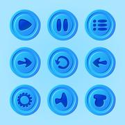 game ui - vector set of blue buttons for mobile game or app - stock illustration
