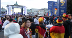 UltraHD 4K Happy Crowd People Celebrating Germany Round 16 Public Viewing Berlin - stock footage