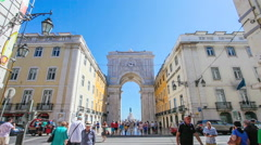 Augusta street triumphal arch in lisbon Stock Footage