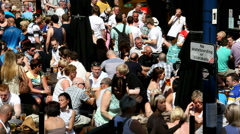 Beer garden customers at Old Wellington Manchester Stock Footage