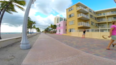 Hollywood beach slow motion  table turn Stock Footage
