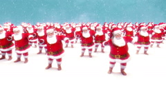 Christmas clip of many Santa Claus characters dancing loop Stock Footage