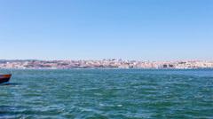 a lisbon ferry, known as a cacilheiro departs towards lisbon - stock footage