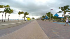 Hollywood Beach overcast 60p Stock Footage