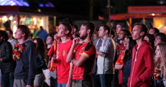 UHD 4K Painted Face Belgium Flag Audience Crowd WorldCup 2014 Berlin Screening Stock Footage