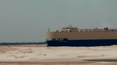 Egypt the Suez Canal 031 ship in Ballah bypass convoy waiting area Stock Footage