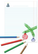 paper note with colored pencils - stock illustration