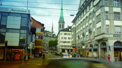 Electric city tram moving from Zurich, Switzerland, time lapse, 4k. Stock Footage