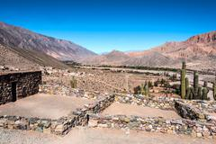 Colorful valley of quebrada de humahuaca, central andes altiplano, argentina Stock Photos