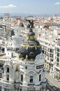 metropolis building in madrid on 4 may, 2013. - stock photo