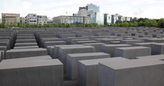 Ultra HD 4K Memorial to Murdered Jews of Europe Berlin City Center Skyline Day Stock Footage