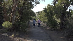 Women hiking Mesa Verde National Park trail 4K 106 Stock Footage