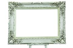 Vintage silver picture frame with metal silver easel isolated on white Stock Photos