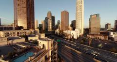 Wide view of scenery around Downtown. Los Angeles, California Stock Footage
