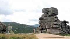 Karkonosze,  Krkonose mountains. The Three pigs rocks 2 Stock Footage