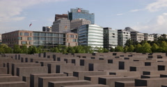 Ultra HD 4K Berlin Skyline Jews Monument Potsdamer Platz Office Towers Buildings Stock Footage