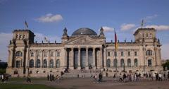 UltraHD 4K German Parliament Berlin Iconic Landmark Tourists People Crowd Lawn Stock Footage