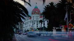 Nice, France, hotel Negresco at twilight, time lapse, 4k to multimedia Stock Footage