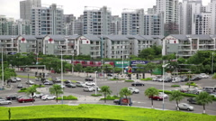 URBAN ROAD JUNCTION IN UP MARKET AREA OF CHINESE CITY Stock Footage
