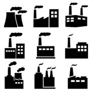 Factory, power plant industrial icons Stock Illustration