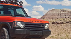 Land Rover Adventure Moab in Wild Landscape Parked Medium Shot Stock Footage