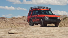 Land Rover Adventure Moab in Wild Landscape Parked Framed for Graphics Stock Footage
