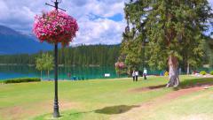 4K Lake Side Jasper Park Lodge, Warm Summer Day Stock Footage