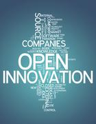 word cloud open innovation - stock illustration