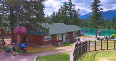 4K The Fairmont Jasper Park Lodge, Lake and Pool Stock Footage