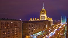Night city view, Kutuzov avenue, high angle, Moscow, time-lapse. Stock Footage