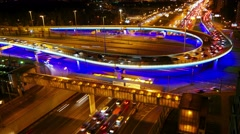 4K Night city traffic on freeway, Moscow, time-lapse. Stock Footage