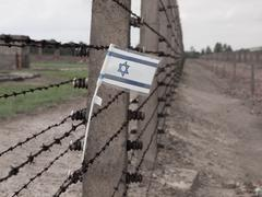 flag of israel in the fence of concentration camp - stock photo