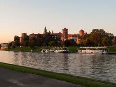 Evening at vistula river in krakow Stock Photos