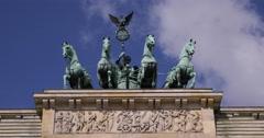 UltraHD 4K Berlin Quadriga Victory Peace Symbol Atop Brandenburg Gate Germany Stock Footage
