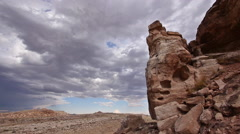Time Lapse of Badlands Wilderness Paleontology Geology With Spiked Rock - stock footage