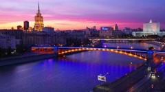 4K 4096x2304. Night city view, Moskva river, high angle, Moscow, time-lapse. Stock Footage