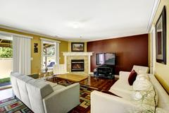 home interior with contrast color walls - stock photo