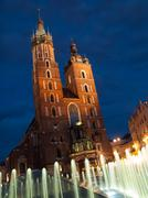 st. mary's church in krakow by night - stock photo