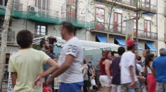 Ramblas street.  Barcelona Stock Footage