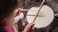 Drummer playing snare drum 4K - top view Stock Footage