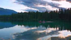 4K Lake at Dusk and Canoe on Water Stock Footage