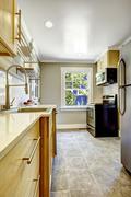 kitchen room with black stove - stock photo