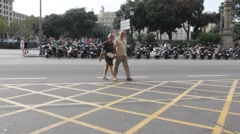 Placa Catalunya (Catalonia square). Rush Hour  at one of the streets in the city Stock Footage