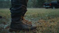 Muddy Georgia Boots Stock Footage