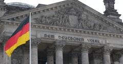 UHD 4K Dem Deutschen Volke German People Reichstag Building Berlin Flag Symbol Stock Footage
