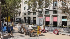 Roadworks  at one of the streets in the city center - stock footage