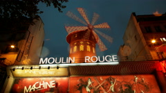 4K UHD Moulin Rouge Cabaret night club in the Pigalle neighborhood, Paris France - stock footage
